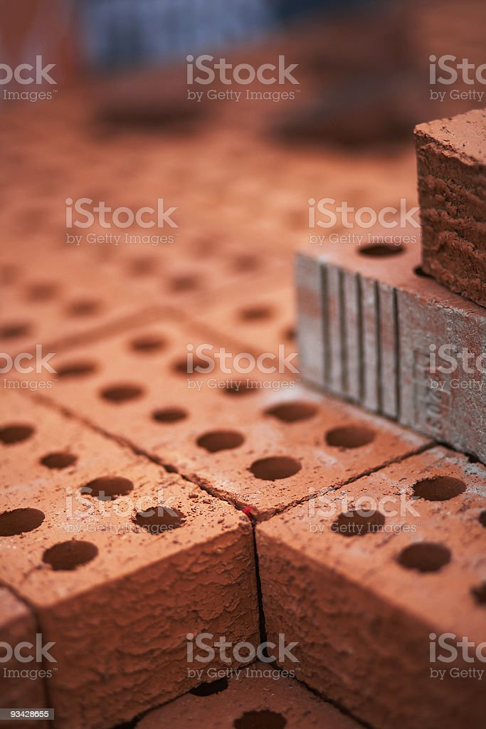 stack of red bricks stock photo