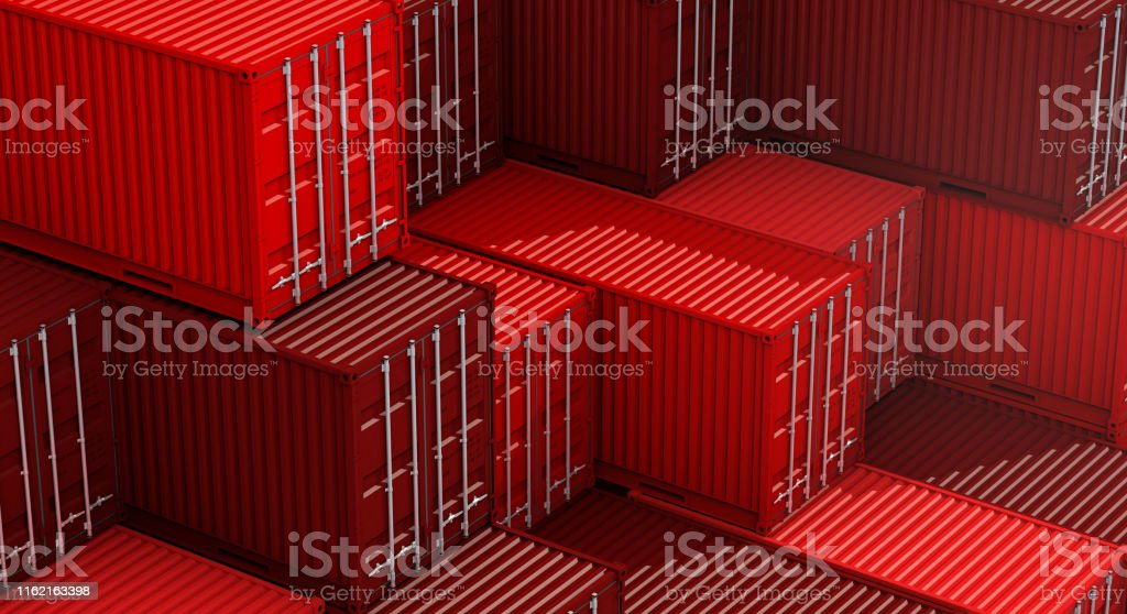 Stack of red containers box, Cargo freight ship for import export...