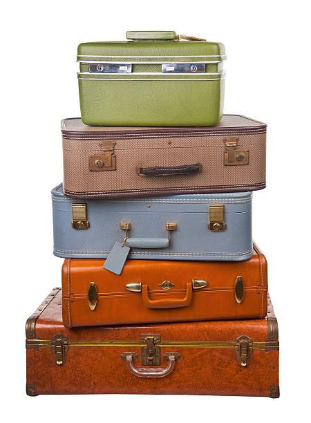 stack of retro luggage stock photo