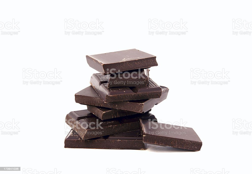 A stack of rich dark chocolate stock photo