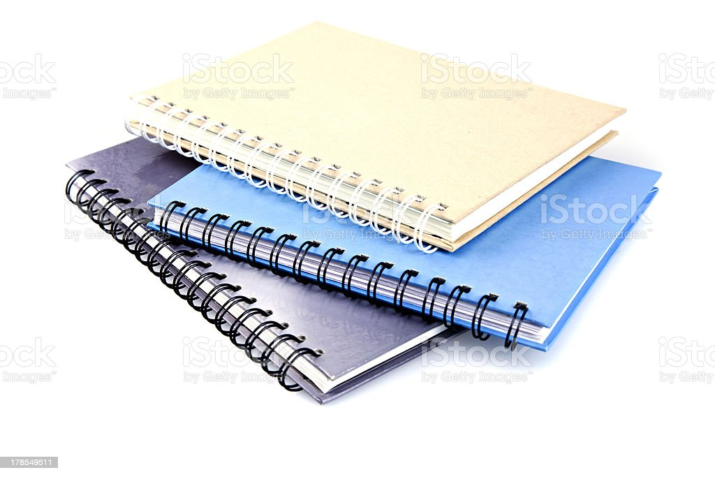 Stack of ring binder book or notebook isolated on white stock photo
