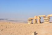 A stack of rocks in Mitzpe Ramon, Israel