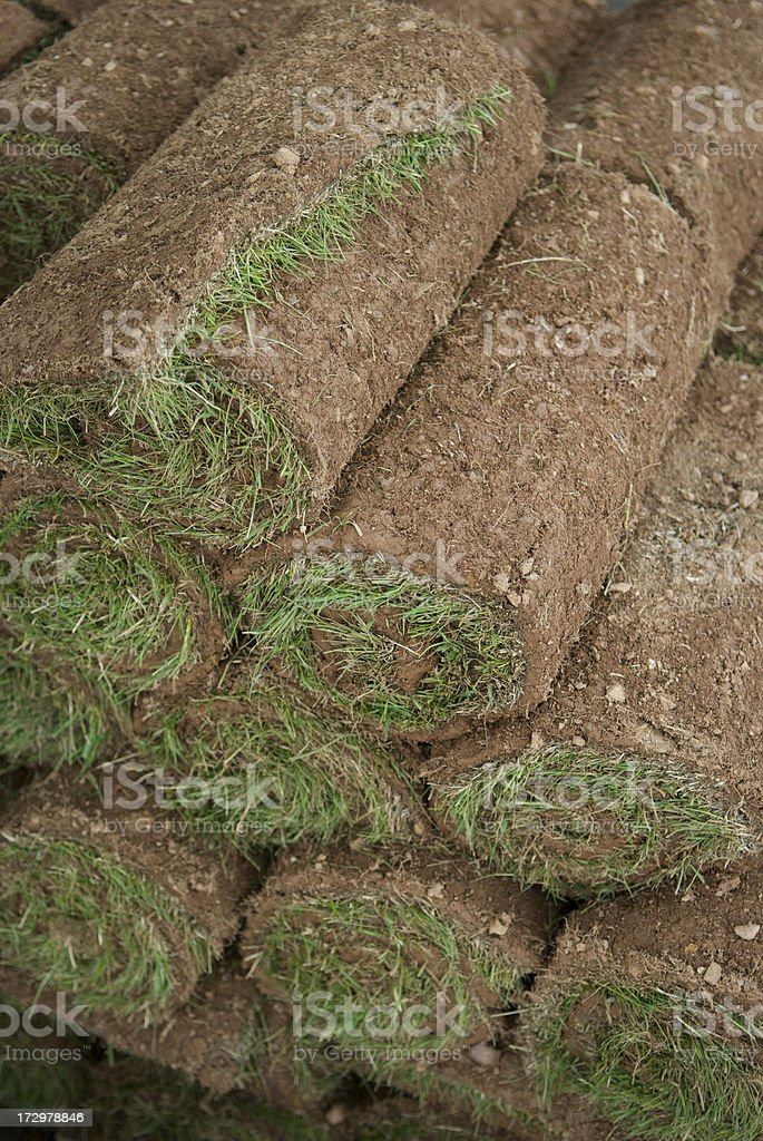 Stack of Rolled Sod royalty-free stock photo