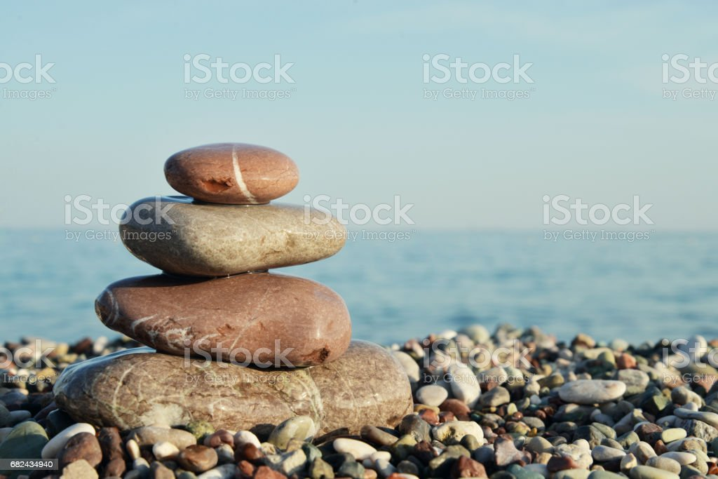 Stack of round smooth stones royalty-free stock photo