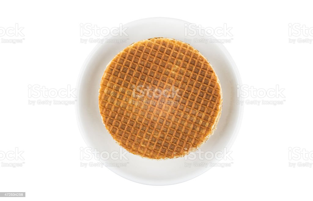 Stack of round waffles in glass saucer stock photo