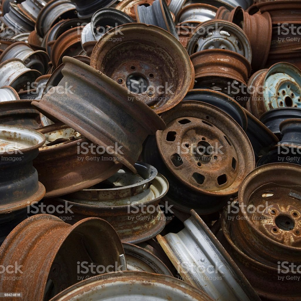 Stack of Rusty Rims royalty-free stock photo
