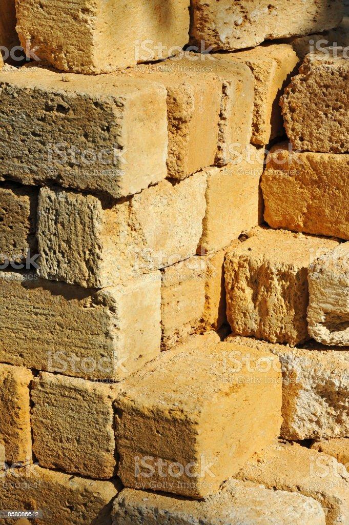 Stack of sandstone brick stock photo
