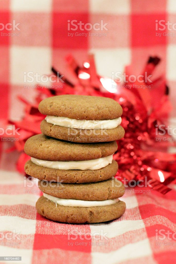 Stack of Sandwich Cookies with Cream Cheese Frosting royalty-free stock photo