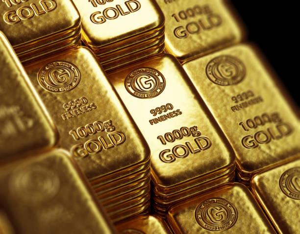 stack of  shiny gold bars  3d illustration stock photo