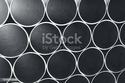 istock Stack of shiny metal steel pipes 1045540598