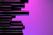 3d rendering of Stack of metal pipes, tubes with reflections and neon lights. Purple and pink colors.