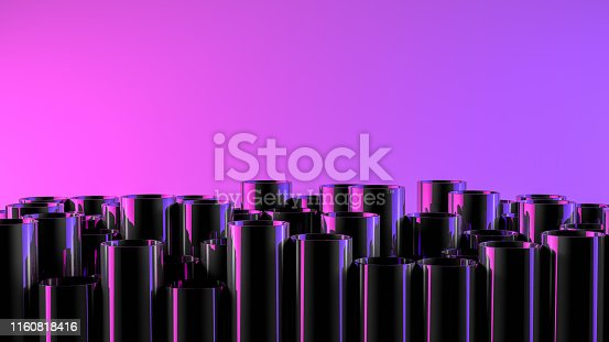 istock Stack of shiny metal steel pipes with neon lights 1160818416