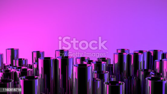 istock Stack of shiny metal steel pipes with neon lights 1160818716