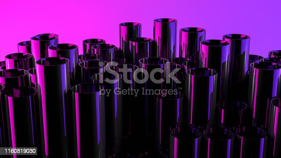 istock Stack of shiny metal steel pipes with neon lights 1160819030