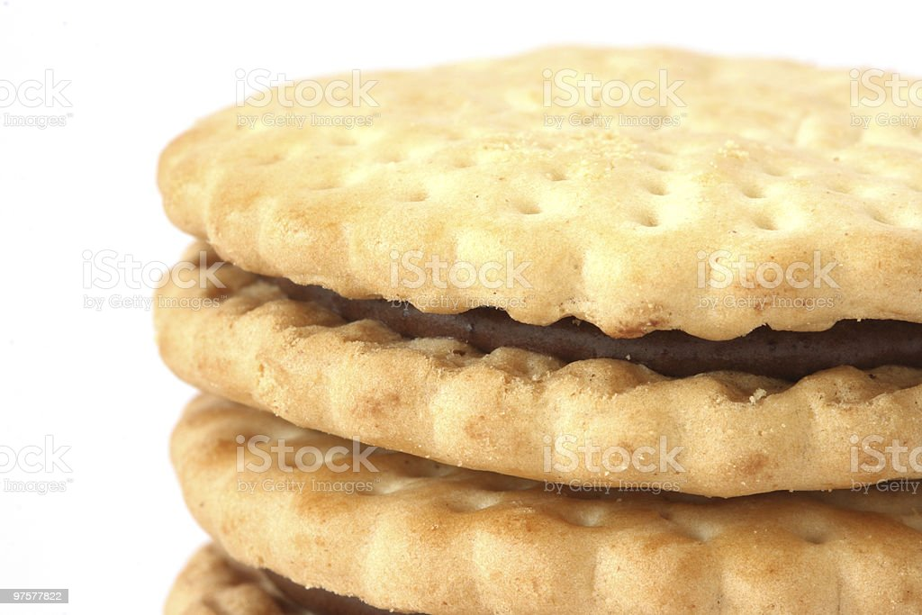 Stack of shortbread butter biscuits with chocolate filling royalty-free stock photo