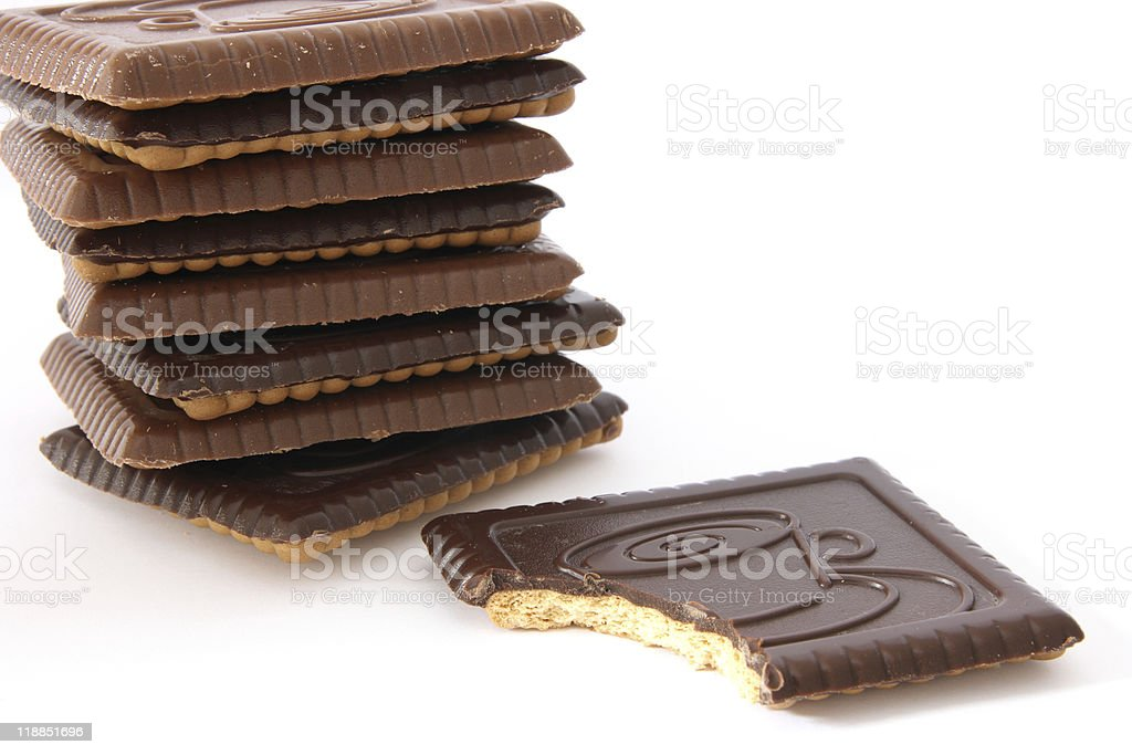 Stack of shortbread butter biscuits with chocolate stock photo