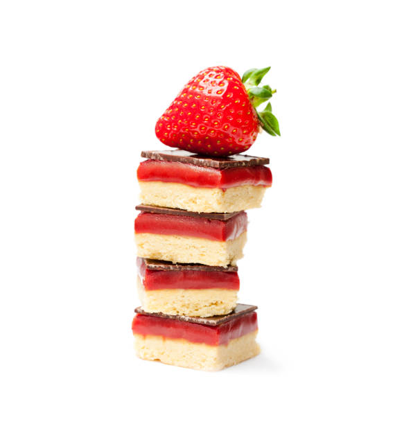 Stack  of shortbread cookies with strawberry isolated - fotografia de stock