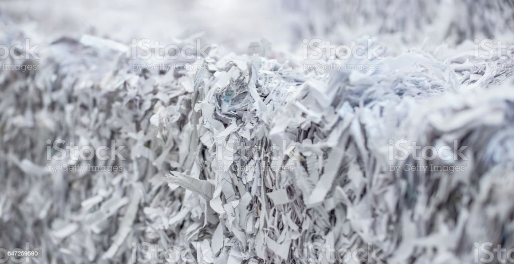 Stack of shredded paper stock photo