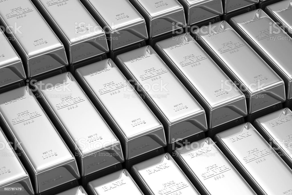 Stack of Silver Bars in the Bank Vault stock photo