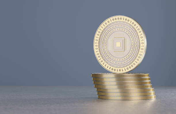 Stack of silver coins as example for crypto-currency and bitcoin stock photo