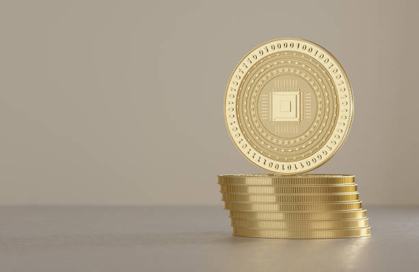 Stack of silver coins as example for virtual crypto currency stock photo