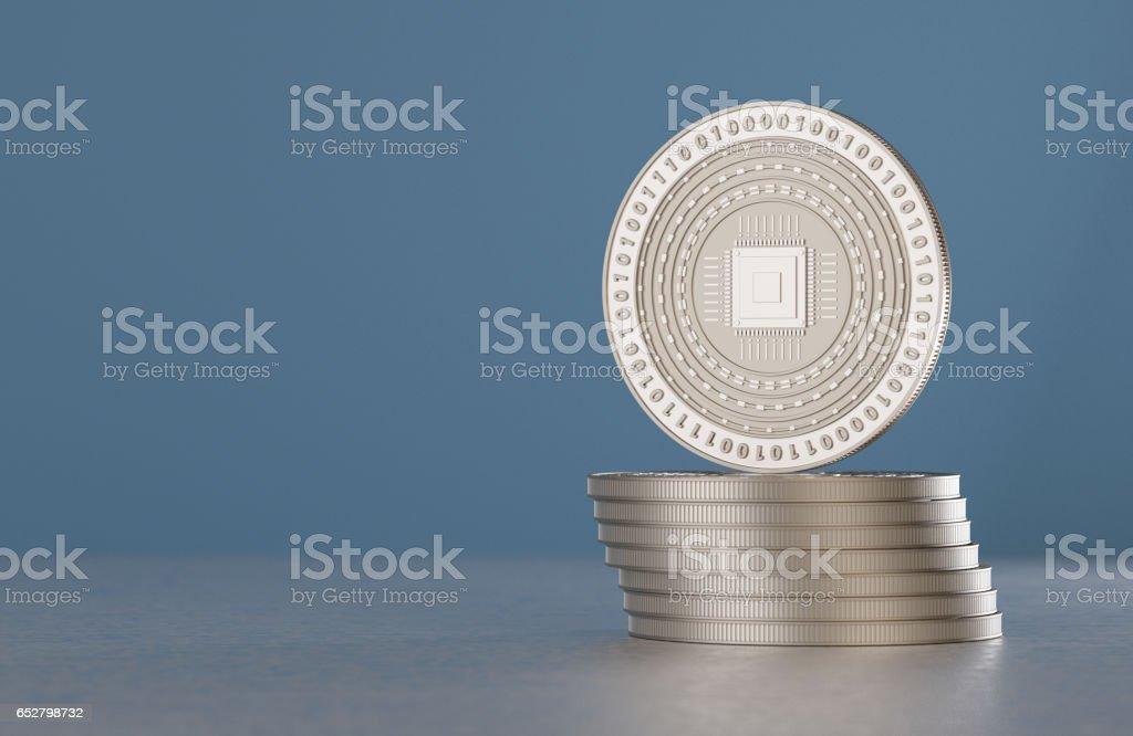 Pila de monedas de plata moneda de crypto con símbolo de cpu - foto de stock