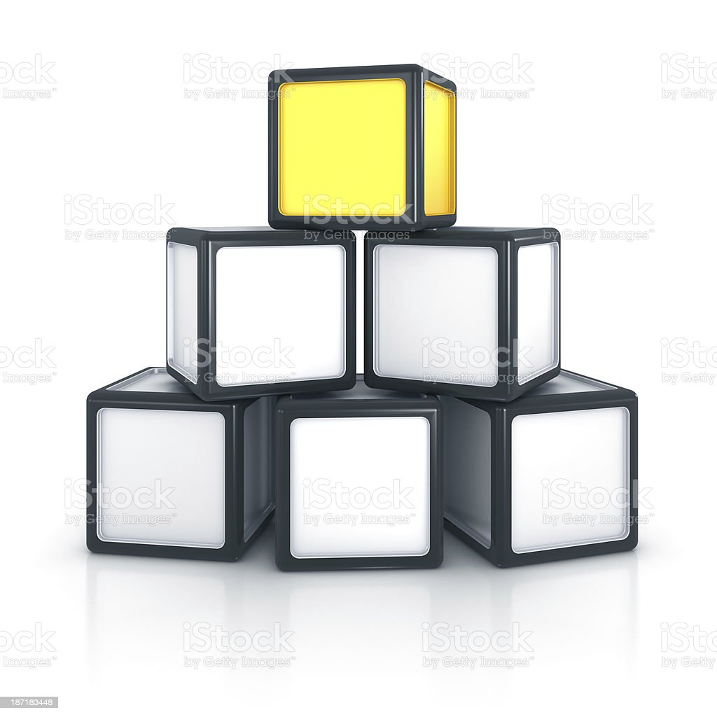 Stack of six blocks with one unique element royalty-free stock photo
