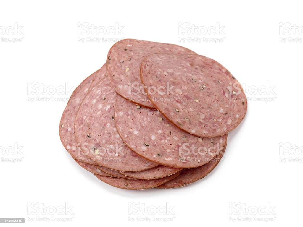 Stack of Sliced Salami royalty-free stock photo