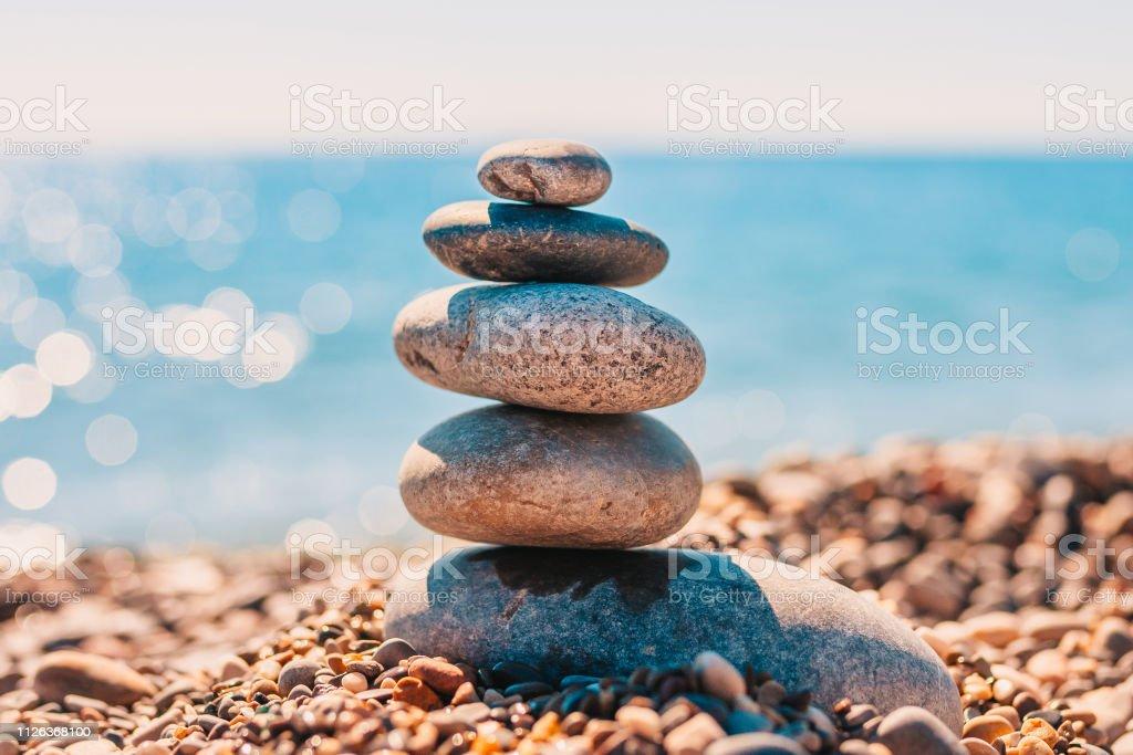 Stack Of Smooth Sea Zen Stones On Sea Spa Concept Balance