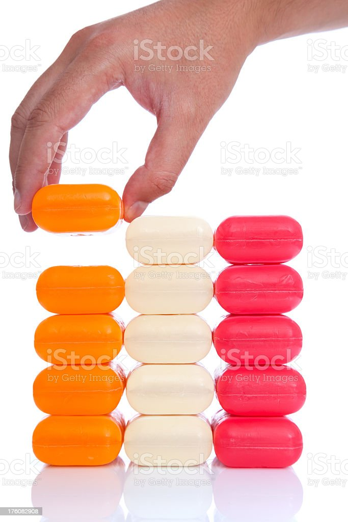 Stack of soap bars - Right Decision royalty-free stock photo