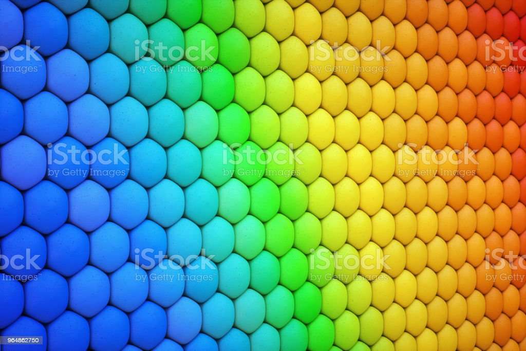 Stack of soft hexagon shapes in the color of the rainbow royalty-free stock photo