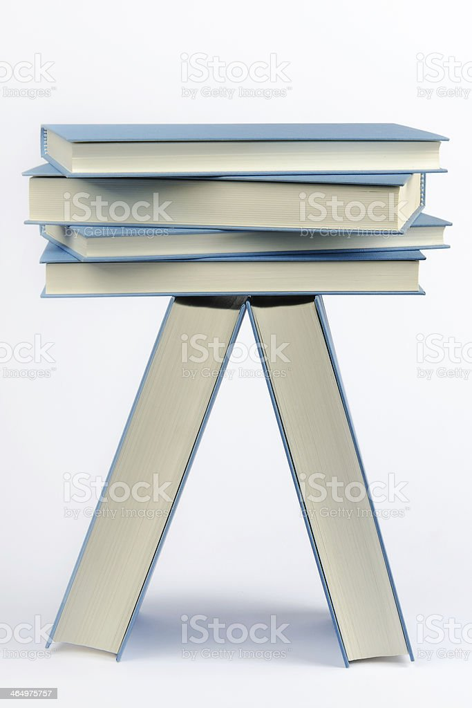 Stack of some closed blue books royalty-free stock photo