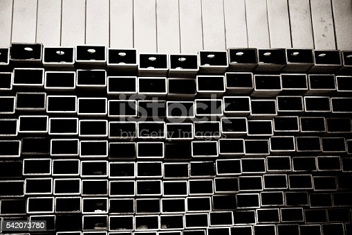 istock stack of square aluminum tube 542073780