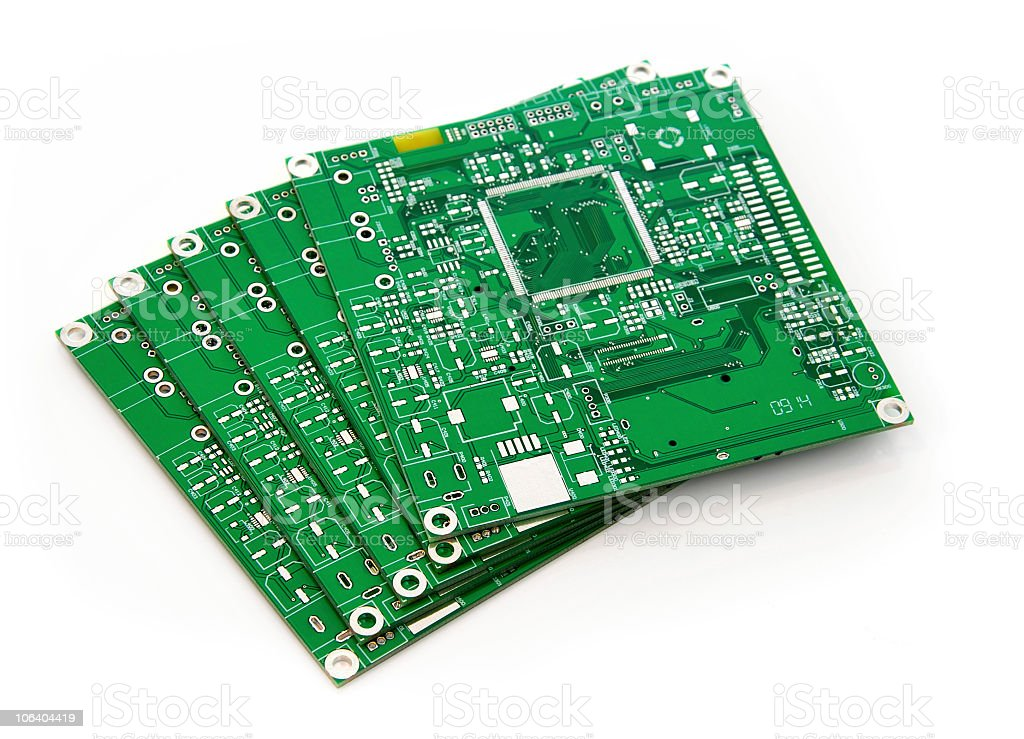 Stack of square PCBs stock photo