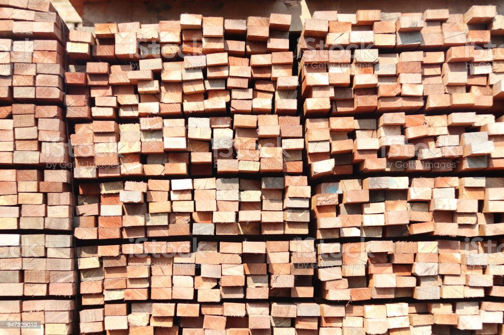 Stack of square rubber wood stock photo