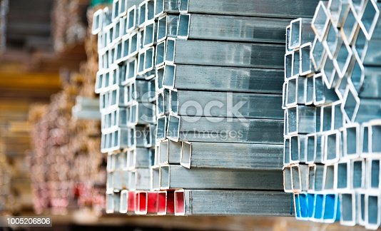 istock Stack of square steel tubes 1005206806