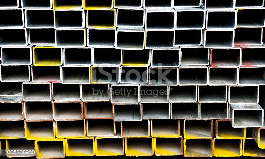 istock Stack of square steel tubes 1005206930