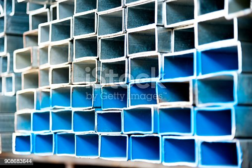 istock Stack of square steel tubes 908683644