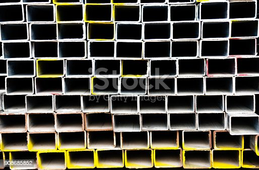 istock Stack of square steel tubes 908685852