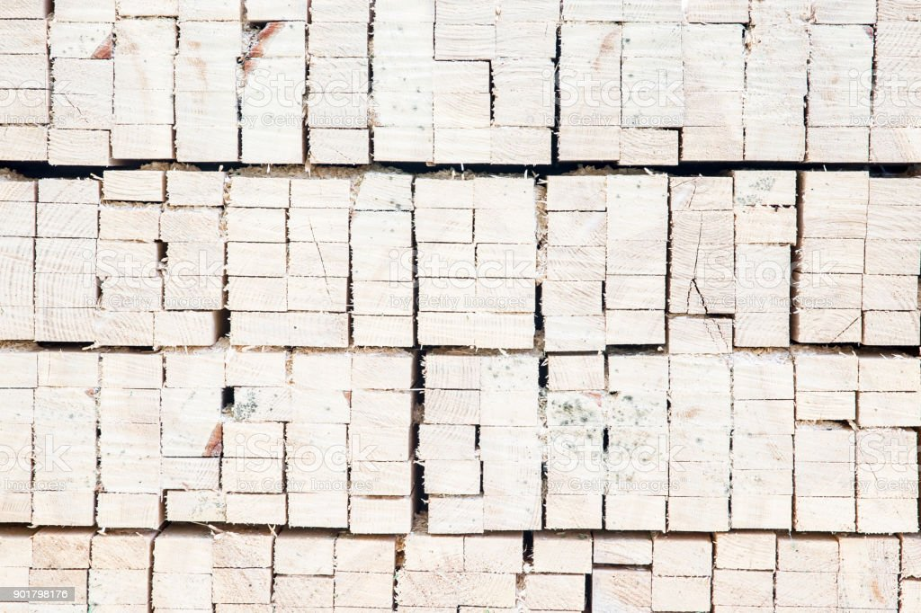 Stack of square wood planks for furniture materials stock photo