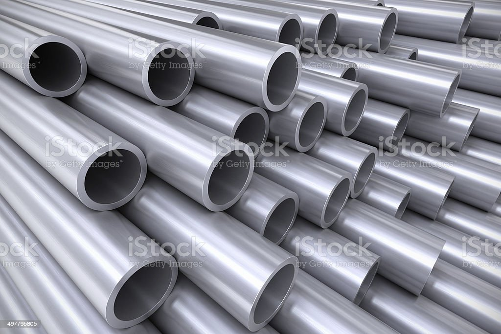 Stack of stainless steel pipes royalty-free stock photo