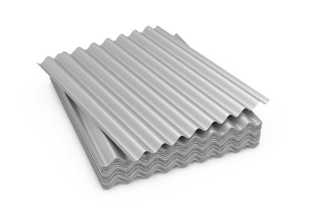 屋頂用鋼金屬鍍鋅波紋板。3d 渲染 - 鋅 個照片及圖片檔