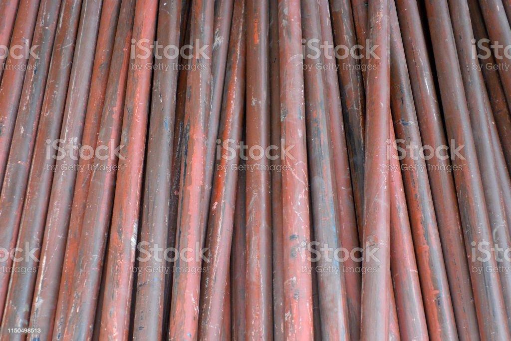 Stack of steel pipes close up - Zbiór zdjęć royalty-free (Aranżacja)