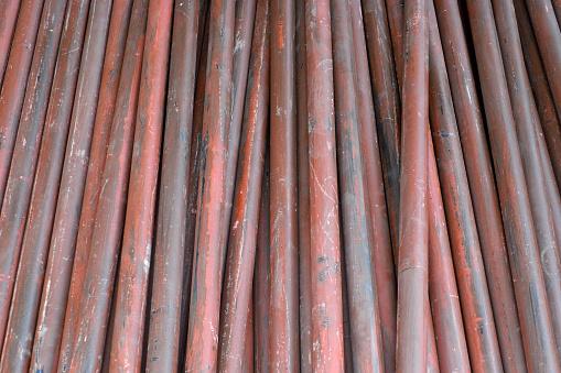 Stack Of Steel Pipes Close Up - zdjęcia stockowe i więcej obrazów Aranżacja