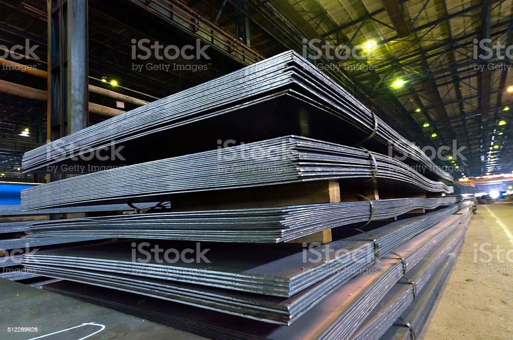 Stack of steel sheet stock photo