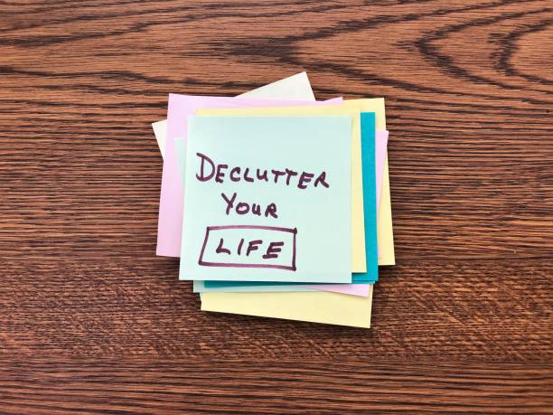Stack of sticky notes with message Declutter your Life stock photo