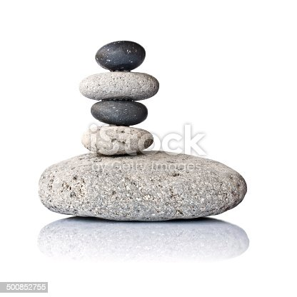 istock Stack of stones isolated on white background 500852755