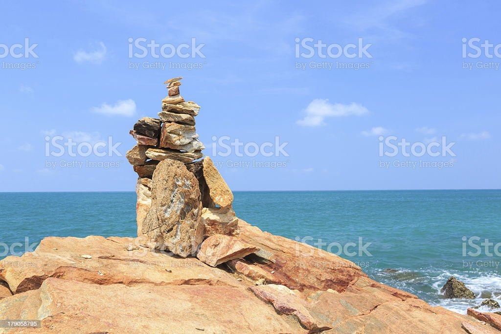 Stack of stones near the sea royalty-free stock photo
