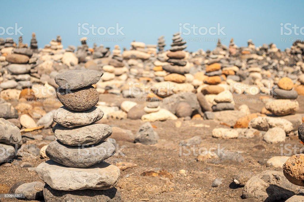 Stack of stones on beach in Tenerife stock photo