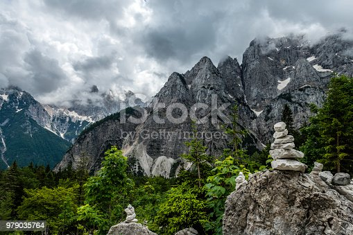Stack of stones, Vršič Pass, Triglav National Park, Gorenjska, Julian Alps, Slovenia, Europe,no logos,Nikon D850